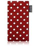YOMIX Gunilla rot Handytasche Tasche für Apple iPhone 5s aus beschichtetem Stoff mit Display Reinigungsfunktion durch Microfaserinnenfutter