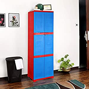 CelloNoveltyLarge Plastic Cupboard with Lock(Red and Blue)