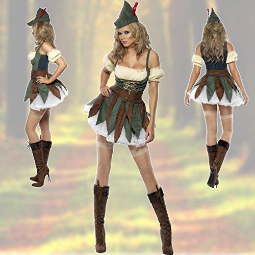 Imagen de arquera disfraz robin hood mujer xs 32/34 ropa elfo cuento de hadas caracterización edad media ropa caminante de los bosques atuendo ladrona alternativa