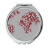 Yanteng Spiegel, in Büroprodukten, Weltkarte Pill Earth Healthcare Pharmaceuticals Schminkspiegel, Taschenspiegel, tragbarer Spiegel