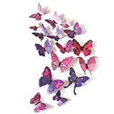 L-FENG-UK 3D Butterfly Removable Mural Wall Stickers Wall Decal for Home Decor(purple)