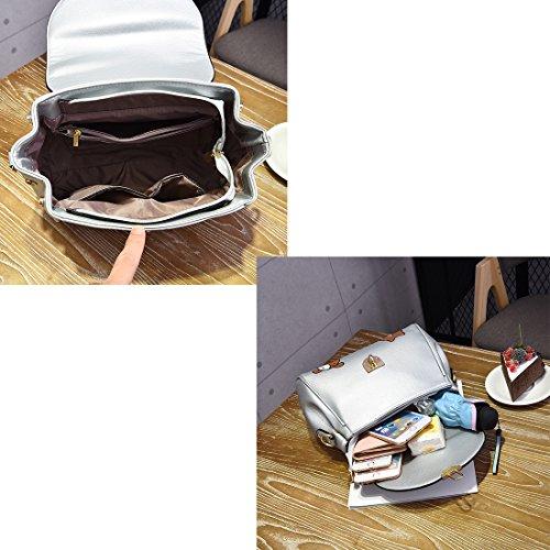 Estwell Damen PU Leder Handtasche mit Schulterriemen Henkeltaschen Schultertaschen Tasche Umhängetasche für Frauen Rosa
