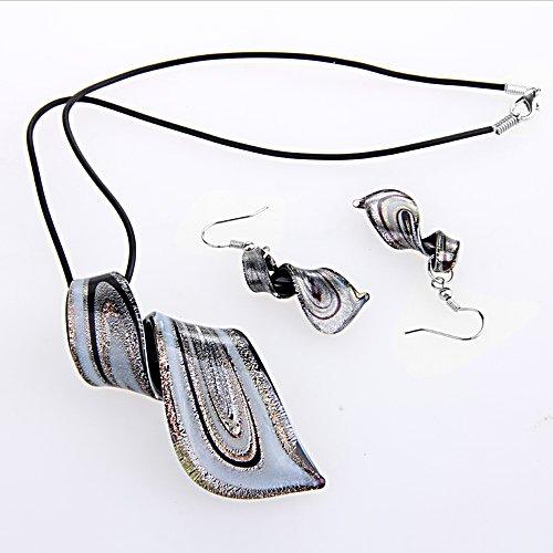 Ecloud Shop Conjunto Collar + Pendientes Cristal de Murano Espiral Neg