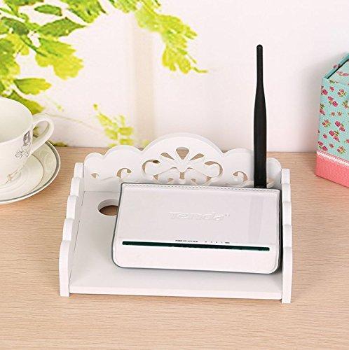 WiFi Router Regal Wandhalterung Router Modem Aufbewahrungsbox Router Rack Mount Kit Halterung, holz, weiß, S - Modem-kit