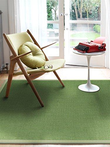 benuta Sisal Teppich mit Bordüre Hellgrün 140x200 cm | Naturfaserteppich für Flur und Wohnzimmer