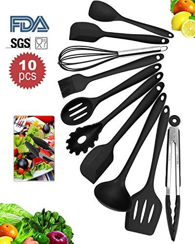 Silikon Küchenhelfer Set von 10 Stücke- LYDAZ Hitzebeständige Antihaft Einfach Zu Reinigen Küchen Utensilien Set(Schwarz)
