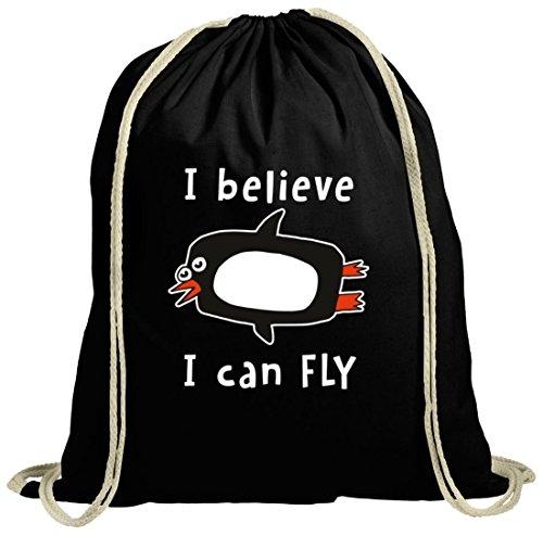 Lustiger natur Turnbeutel mit I Believe I Can Fly Motiv Premium schwarz natur