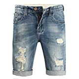 Bermuda Jeans Shorts Herren Destroyed Sommer Stretch Jogg Kurze Hose Vintage Used Look Denim Shorts Slim