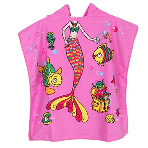 perfk Kinder Badetuch Robe Schwimmen Poncho Umkleidehilfe Bademantel Strandtuch Badeponcho für Jungen Mädchen - Rosa Meerjungfrau