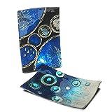 CAPRILO Set de 2 Platos Grandes Decorativos Rectangulares Abstractos Azules Vajillas y Cuberterías de Cristal. Adornos y Centros de Mesa .4.5 x 31 x 17 cm.