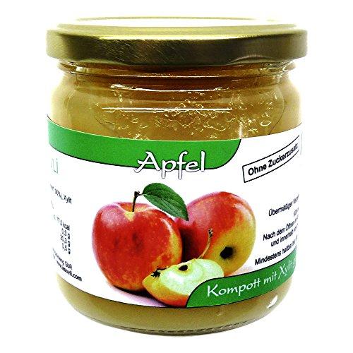 Apfel-Kompott ohne Zuckerzusatz, nur mit Xylit gesüßt, 90% Fruchtanteil, 390 g