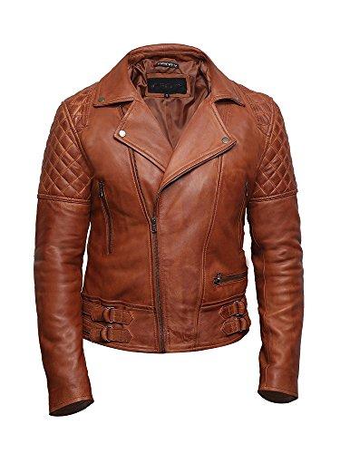 Brandslock Herren Leder Biker Jacke Cross Zip Brando Retro Casual Vintage gewaschen Tan Brown...