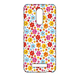 ezyPRNT Colorful Flowers and Dots Mobile Back Case Cover for Xiaomi Redmi Note 3