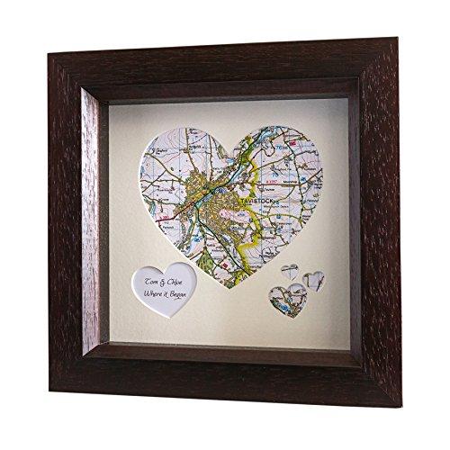 personalizzati cuore mappa (Cream Mount, beach Hut telaio in legno bianco) Christmas Xmas present