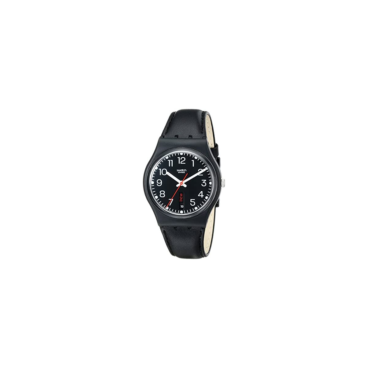 51Lt5IqxnTL. SS1200  - Swatch Gent Red Sunday GB 750 - Reloj Unisex de Cuarzo, Correa de Piel Color Negro