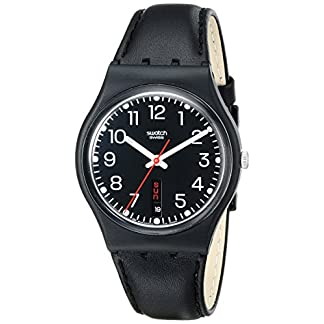 Swatch Gent Red Sunday GB 750 – Reloj Unisex de Cuarzo, Correa de Piel Color Negro