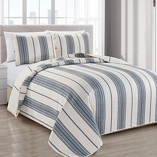 Great Bay Home Travino Collection Bettwäsche-Set mit Betten, 3-teilig Tagesdecke, wendbar, geometrisches Muster Maschinenwaschbar. Twin weiß/Marineblau -