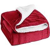 Flauschige Kuscheldecke 150x200cm Rot Decke mit super weiche Sherpawoll, Zweiseitige Flauschige Sofadecke, Leichte Mikrofaser Fleece Decke Überwurf für Sofa und Couch von Bedsure