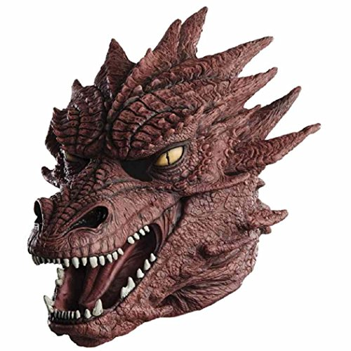 Gruselig Kostüm Monster - MASCARELLO Realistische Dragon Latex Tierkopf Monster Maske Halloween Kostüm Horror Scary Maskerade gruselig Kostüm