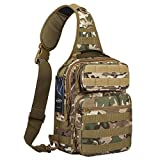 G4Free Outdoor Lightweight Tactical Sling Backpack Military Sport Daypack Assault Small Shoulder One Strap Sling Molle Chest Pack for Camping Hiking Trekking (CP Camouflage)