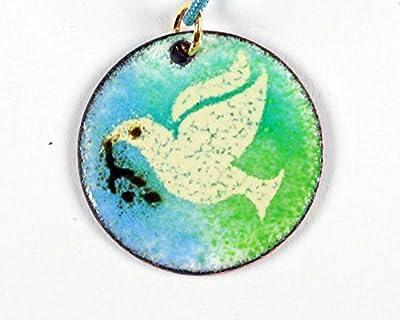 Pendentif colombe émail sur cuivre