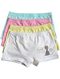 CHIC-CHIC Boxer Slip Lot de 4 Fille Bébé Enfant Culotte Pantalon Sous-Vêtement en Coton Motif Mignon Uni