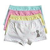 Chic-Chic Boxer Slip Lot de 4 Fille Bébé Enfant Culotte Pantalon sous-Vêtement en Coton Motif Mignon Uni 2-4ans XM