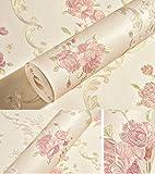 Geprägt Rose Floral Kontakt Papier Selbstklebende Vliestapete schälen und Stick Wall Decor für Mädchen Wohnzimmer Schlafzimmer Küche Bad, Hellgelb, 20.83