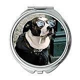 Yanteng Spiegel, runder Spiegel, farbenfroher süßer Hund, Taschenspiegel, 1 X 2X Vergrößerung
