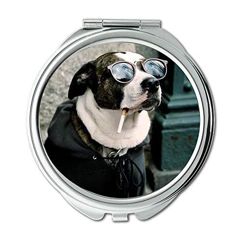 Specchio, Specchio rotondo, Cute Dog colorato, specchio tascabile, 1 ingrandimento X 2X