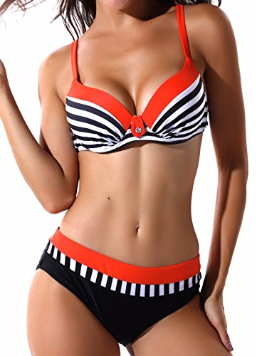 FITTOO Damen Push Up Triangle Bikini-set mit Bügel Zweiteiler Strand Bademode Badeanzug Streifen (Orange) L (- Orange-streifen Leichte)