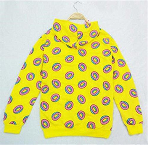AILIENT Felpe con Cappuccio Donna Elegante Moda Pullover Maniche Lunghe Stampata Donuts Sweatshirt Oversize Hoodie Casual Cappotto Tops Yellow