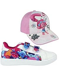 Cerdá Trolls Zapatillas Deportivas Para Niña - Sneakers Trolls Poppy + Gorra Poppy de Regalo, Color Blanco (Dan Mucha Talla)