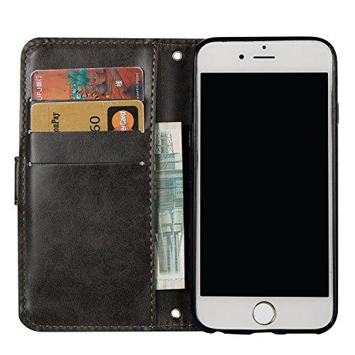 Custodia per iPhone 6 Plus/iPhone 6s Plus (5.5), EUWLY Book Style PU Leather Custodia Case Cover Per iPhone 6 Plus/iPhone 6s Plus (5.5) Portafoglio Custodia Goffratura Ragazza di Farfalla Shell Cove Cranio,Nero