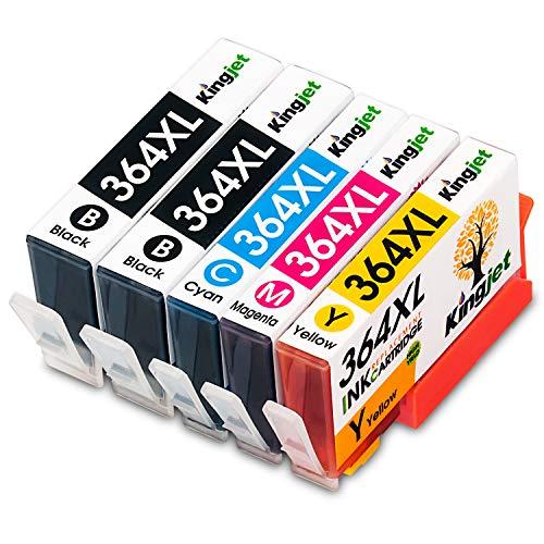 Kingjet 364XL Tintenpatronen 5 Stück mit Chips und hoher Reichweite Ersatz für HP 364 XL 364 kompatibel mit HP Photosmart 5510 5520 5524 C5380 C309a B109a C410 Officejet 4620 Deskjet 3070A(2B/1C/1M/1Y