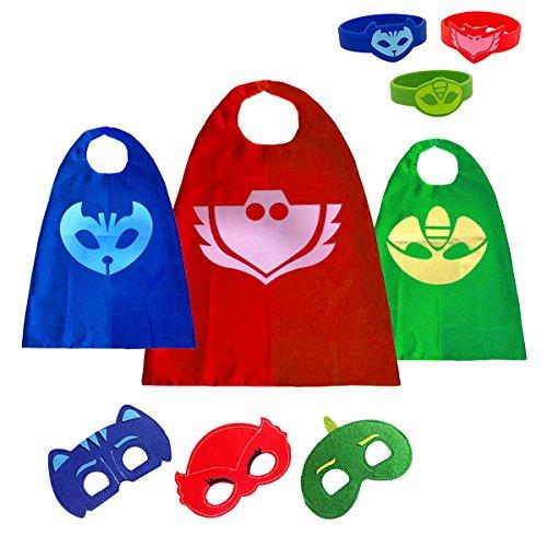 PJ Masks Kostüm,3 Capes und Masken für Kinder - Halloween Kostüm (3 Pack(with (Catboy Pj Masken Kostüm)