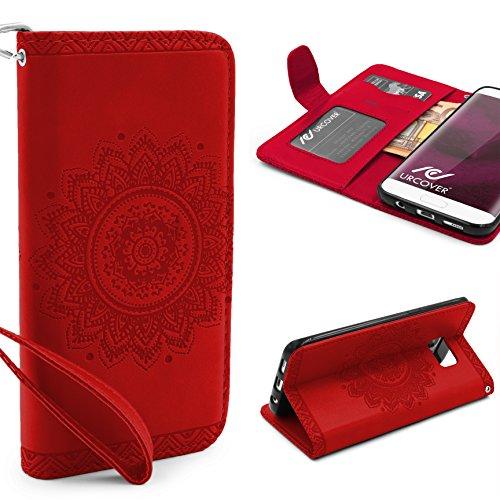 Urcover® Samsung Galaxy S7 Edge Handy Schutz-Hülle | Lotus Pattern Wallet Rot | Kartenfach & Standfunktion | Flip Case | Trendy Tasche | Cover Schale | Smartphone Zubehör
