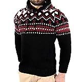 Xmiral Herren Pullover Hoodie Strickpullover Longsleeve Sweater Sweatshirt Geometrie Drucken Nähen Top(S,Schwarz)