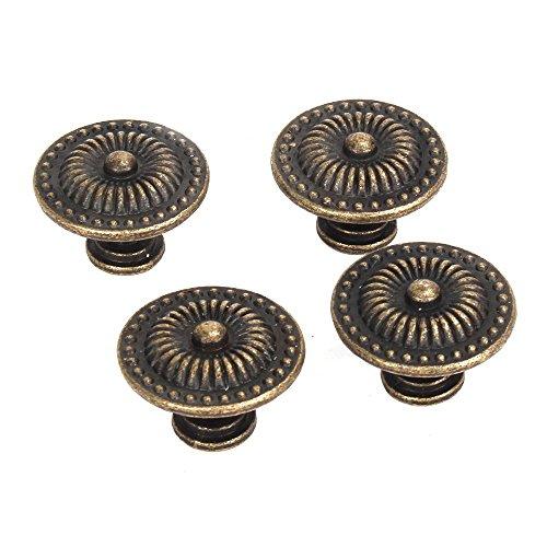 Dekorative Möbelknöpfe (Schrank Schublade Griff - TOOGOO(R)Dekorative Vintage Rund Moebelknoepfe Bronze Schranktuer Schublade Packung von 4)