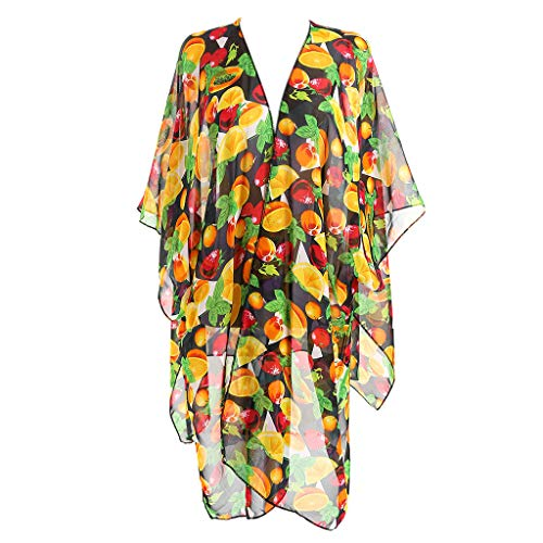 Chaunce Frauen Travel Holiday 3/4 Sleeves Swimsuit Cover Cover Kimono Cardigan Side Split Loose Semi-Sheer Shawl Frauen Bikini Set Sexy Beach Swimwear Best Gift for Summer (Schwarz) -
