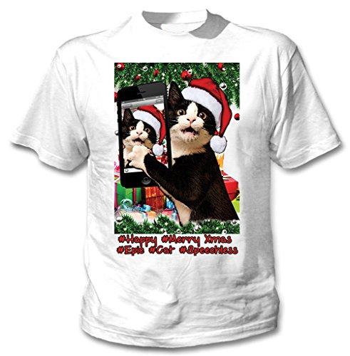 Teesquare1st TUXEDO CAT CHRISTMAS SELFIE Tshirt di cotone da uomo bianca Size XXLarge