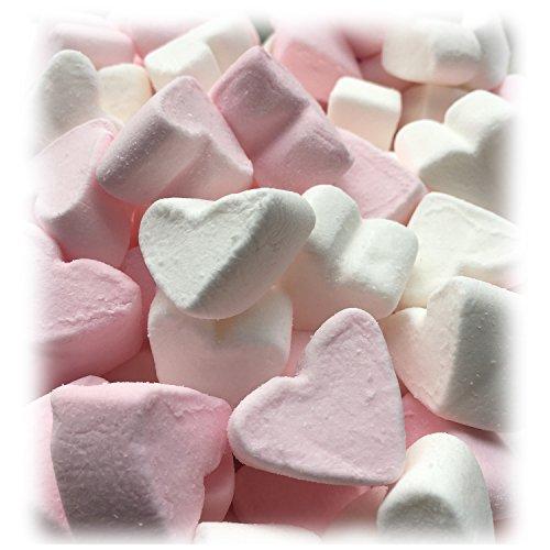Marshmallow Herzen EXTRA FLUFFY zu Hochzeit Taufe Kommunion 1000g - rosa und weiß in Herzform - Vanillegeschmack - Tischdeko Nascherei Candybar Gastgeschenk - Topqualität im 1000g Beutel (Wasser-kissen Für Grillen)