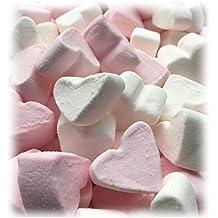 Marshmallow Herzen EXTRA FLUFFY zu Hochzeit Taufe Kommunion 1000g - rosa und weiß in Herzform - Vanillegeschmack - Tischdeko Nascherei Candybar Gastgeschenk - Topqualität im 1000g Beutel