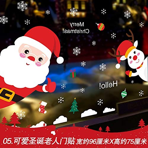 HAPPYLR Mall Shop Neujahr Fensteraufkleber Weihnachten Schneeflocke Glas Wandaufkleber Ornamente Dekorative Aufkleber Aufkleber, 5. Süße Santa Türaufkleber, extra groß (Glas Schneeflocke Ornamente)