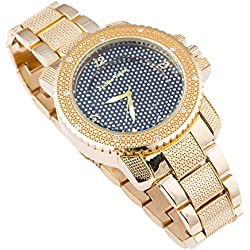 Techno Trend Men's Gold Plated Clear Stones Iced Out Cut Edges Click Rotate Bezel Japanese Quartz Movement Hip Hop Bling Watch