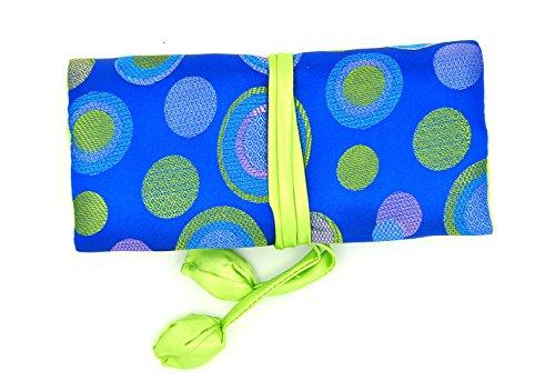 Isuperb ®-Rotolo portagioie da viaggio a pois, in broccato di seta elegante e Bold-Custodia da viaggio, colore: Polka Dot