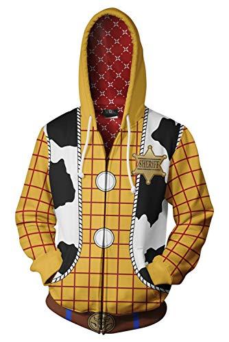 RedJade Coat Kapuzenpullover Mantel Hoodie mit Kapuze Kapuzenjacke Hooded Kapuzenpulli Sweatshirt Anime Unisex Lange Ärmel Kapuzenpullover Gelb Woody Cowboy (Für Woody-kostüme Erwachsene)
