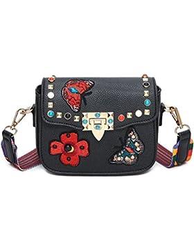 Honeymall Damen Schmetterling Stickerei Kleine quadratische Tasche Damentasche Schultertasche Umhängetasche bunte...