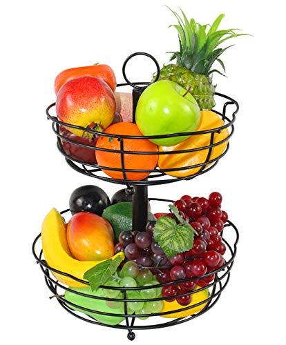 ESYLIFE - Cuenco de frutas de 2 niveles con forma de pétalo, color ne