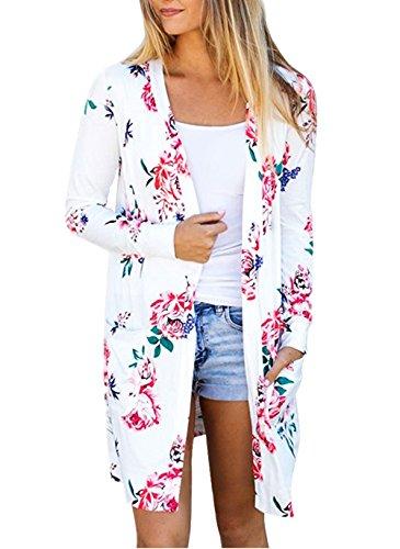 Damen Cardigan Lang Elegant Strickjacken Langarm Rose Floral Print Women Festlich Longshirt Jacken Loose Offener Coat Hübsche Mit Pockets Boho Kimono Outwear (Rose Cardigan Print)